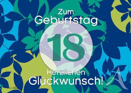 """Doppelkarte """"Zum Geburtstag (18) Herzlichen Glückwunsch!"""""""