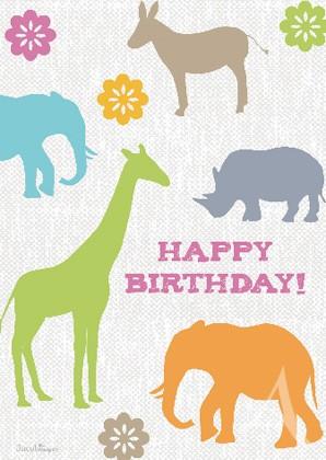 "Doppelkarte ""Happy Birthday"" (Tiere)"