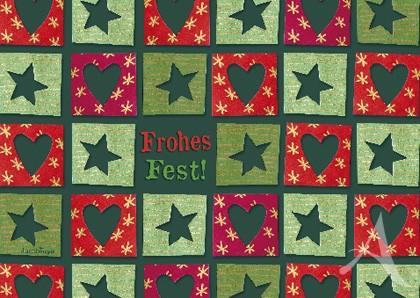 """Doppelkarte """"Frohes Fest"""" (Herzen & Sterne)"""