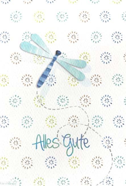 """Doppelkarte """"Alles Gute"""" (Libelle)"""
