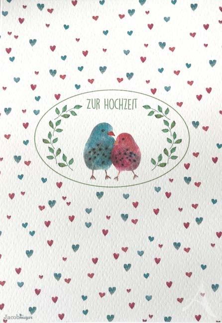 """Doppelkarte """"Zur Hochzeit"""" (Vogelpaar)"""