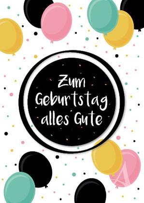 "Doppelkarte ""Zum Geburtstag alles Gute"""