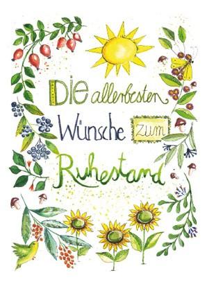 """Doppelkarte """"Die allerbesten Wünsche zum Ruhestand"""""""