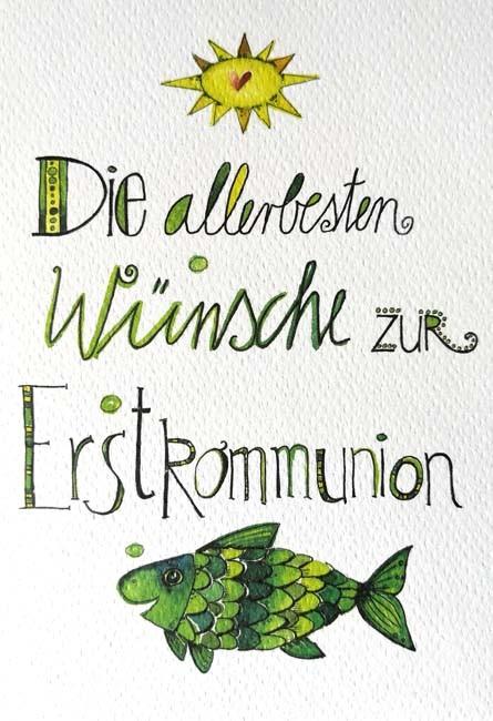 """Doppelkarte """"Die allerbesten Wünsche zur Erstkommunion"""""""