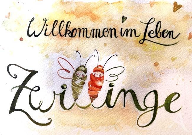 """Doppelkarte """"Willkommen im Leben - ZWILLINGE"""""""