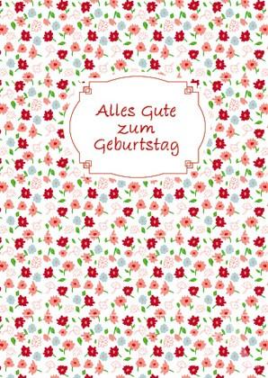"""Doppelkarte """"Alles Gute zum Geburtstag (rot-weiß)"""""""