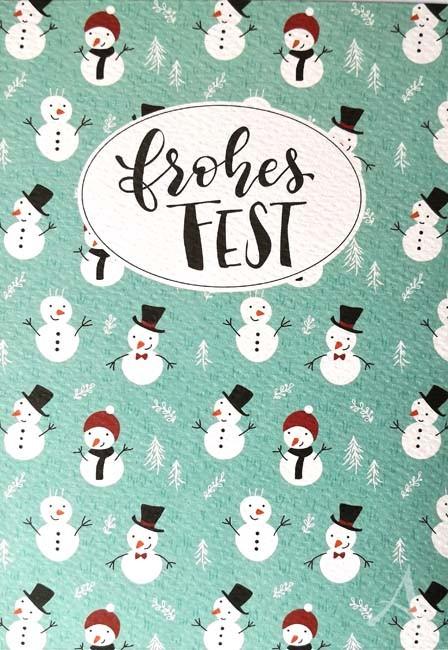 """Weihnachts- Doppelkarte """"Frohes Fest"""" mit Schneemännern"""
