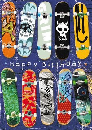 "Doppelkarte ""Happy Birthday (Skateboards)"" - Nur noch wenige EXEMPLARE !"