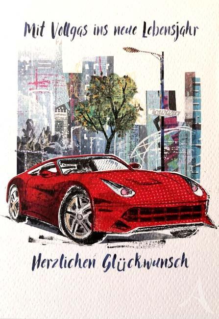 """Geburtstags- Doppelkarte """"Mit Vollgas ins neue Lebensjahr"""""""