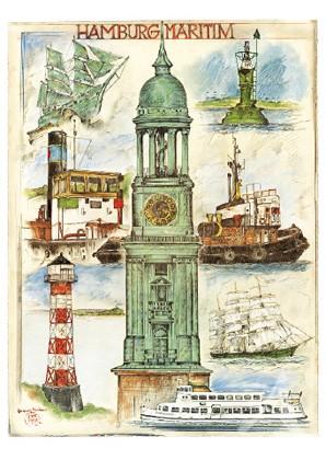"""DOPPELKARTE """"Hamburg - Maritim"""""""