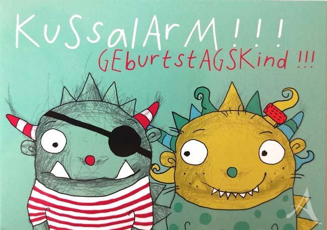 """Postkarte """"KUSSALARM !!  GEBURTSTAGSKIND!!"""