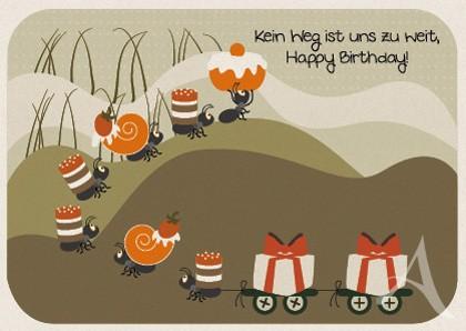 """Postkarte """"Kein Weg ist uns zu weit, Happy Birthday!"""""""