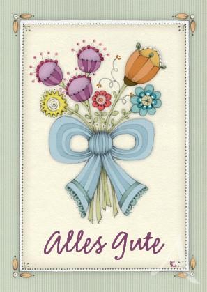 """Postkarte """"Alles Gute (Blumenstrauss)"""""""