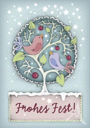 """Postkarte """"Frohes Fest (Vögel)"""""""