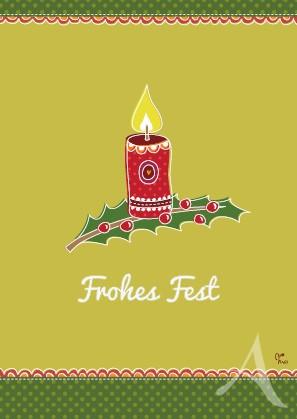 """Postkarte """"Frohes Fest (Kerze)"""""""