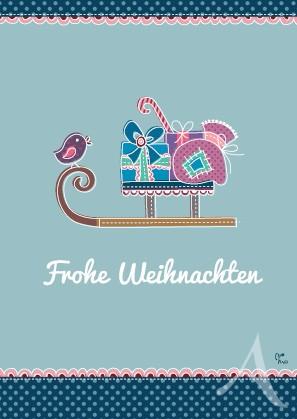 """Postkarte """"Frohe Weihnachten (Schlitten)"""""""