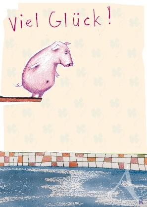 """Postkarte """"Viel Glück (Schwein)"""""""