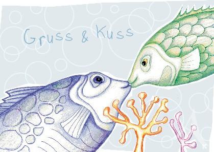 "Postkarte ""Gruss & Kuss"""