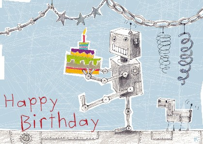 "Postkarte ""Happy Birthday (Roboter)"""