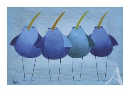 """Postkarte """"Blaue Vögel"""""""