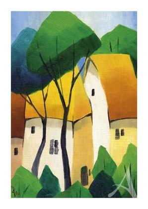 "Postkarte ""Gelbe Häuser"""