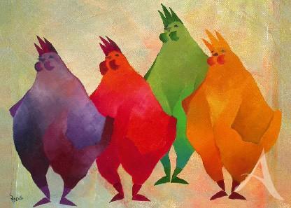 """Doppelkarte """"4 Hühner"""""""