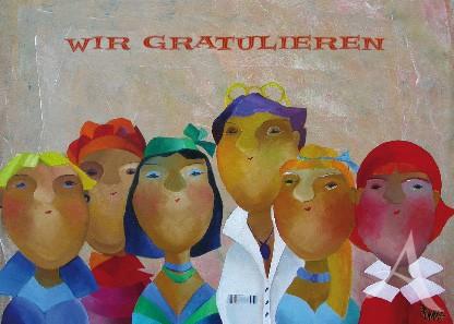 """Postkarte """"Wir gratulieren"""""""