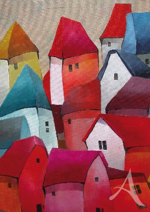 "Postkarte ""Bunte Häuser"""