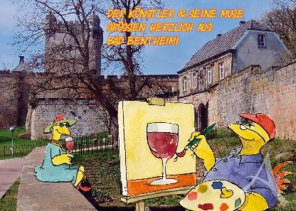 """Postkarte """"Der Künstler & seine Muse"""""""