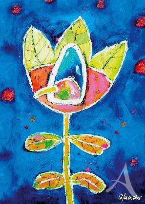 "Postkarte ""Vogel im Blütenhaus"""