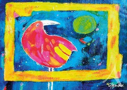 """Postkarte """"Vogel in pink"""""""