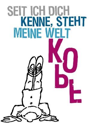 """Postkarte """"Seit ich dich kenne, steht meine Welt KOPF"""""""