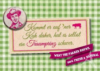 """Farmer-Serie - Postkarte """"Kommt er auf `ner Kuh daher..."""""""