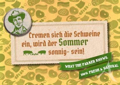 """Farmer-Serie - Postkarte """"Cremen sich die Schweine ein..."""""""