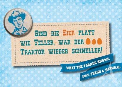 "Farmer-Serie - Postkarte ""Sind die Eier platt wie Teller..."""