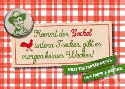 "Farmer-Serie - Postkarte ""Kommt der Gockel untern Trecker..."""