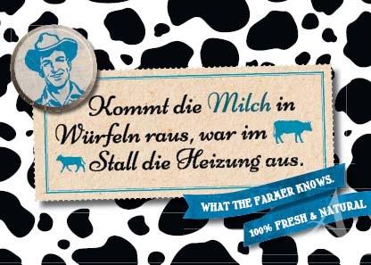 """Farmer-Serie - Postkarte """"Kommt die Milch in Würfeln raus..."""""""