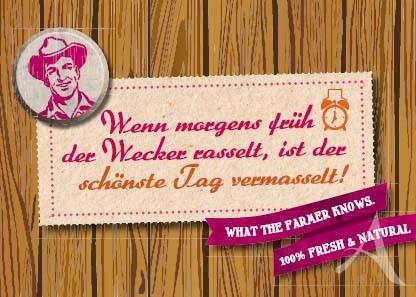 "Farmer-Serie - Postkarte ""Wenn morgens früh der Wecker rasselt..."""
