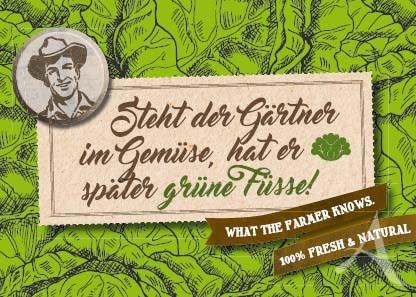 """Farmer-Serie - Postkarte """"Steht der Gärtner im Gemüse..."""""""