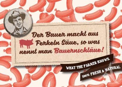 "Farmer-Serie - Postkarte ""Der Bauer macht aus Ferkeln Säue..."""