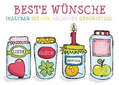 """Postkarte """"Beste Wünsche (haltbar bis zum nächsten Geburtstag)"""""""
