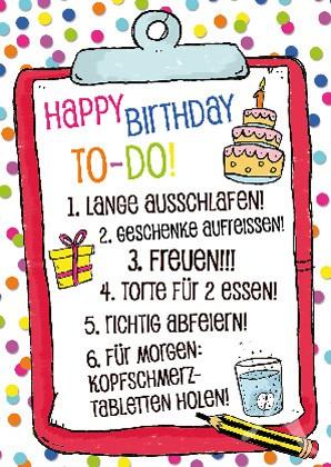 "Postkarte ""Happy Birthday (TO-DO!)"""