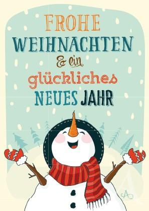 """Postkarte """"Frohe Weihnachten & ein glückliches Neues Jahr"""""""