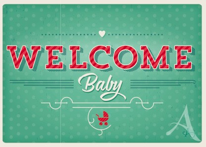 "Postkarte ""Welcome Baby"""