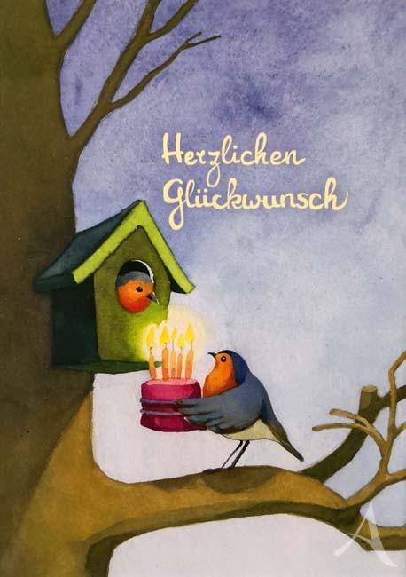 """Postkarte """"Herzlichen Glückwunsch"""" (Vögelchen)"""