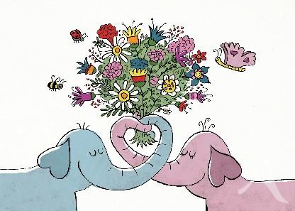 "Postkarte ""Elefanten - Love"""