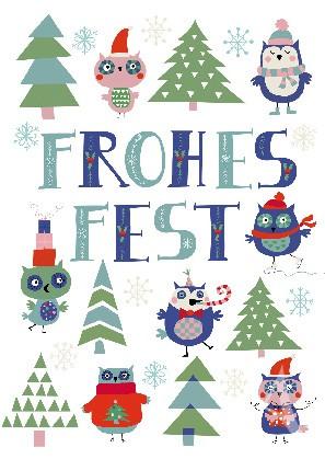 "Postkarte ""Frohes Fest (Eulen)"""