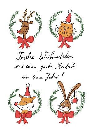 """Postkarte """"Frohe Weihnachten & einen guten Rutsch..."""""""