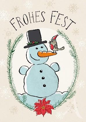 """Postkarte """"Frohes Fest (Schneemann)"""""""