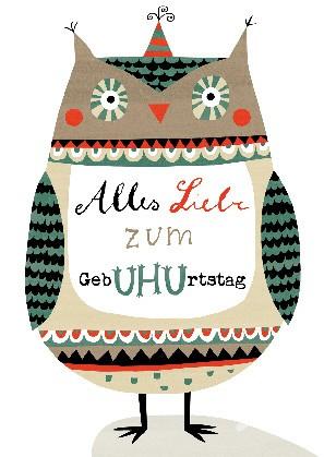 """Postkarte """"Alles Liebe zum GebUHUrtstag"""""""